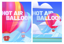 Hot Air Balloons Fly Above Mountain Valley With Lake And Green Meadows. Vector Posters Of Travel Tour With Cartoon Illustration Of Flying Colorful Airships With Baskets In Sky With Clouds