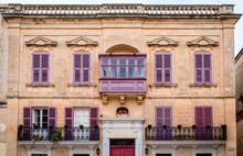 Old Medieval Building In Villegaignon Street Facing Saint Paul's Square, In Mdina, Malta. Typical Maltese Architecture.