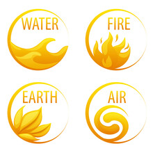 4 Elements Nature, Golden Icons Water, Earth, Fire, Air For The Game.