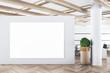 Leinwandbild Motiv Modern concrete office interior with empty banner on wall and wooden floor. Advertisement concept. 3D Rendering.