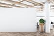 Leinwandbild Motiv Modern concrete office interior with mockup wall and wooden floor. Advertisement concept. 3D Rendering.