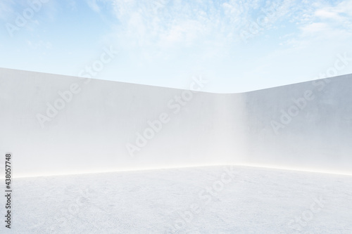 Light abstract open air stage with light color concrete fence and floor with copyspace, glowing line between and blue sky with clouds. Mock up, 3D rendering