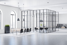 Sunny Huge Stylish Open Space Office With Arched Windows, White Walls, Grey Floor And Conference Room With Transparent Glass Walls Divided By Black Squares. 3D Rendering.