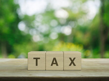 TAX Letter On Block Cubes On Wooden Table Over Blur Green Tree In Park, Business And Finance Concept