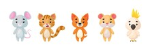Cute Pets Animals Set. Collection Funny Animals Characters For Kids Cards, Baby Shower, Birthday Invitation, House Interior. Bright Colored Childish Vector Illustration.