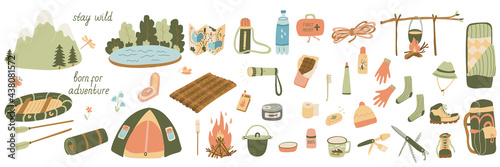 Photo Big set of vector illustrations of tourism and camping equipment in flat style