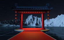Chinese Gate With Snow Mountains Background, Translating Blessing, 3d Rendering.