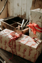 Christmas Gifts With Red Ribbons