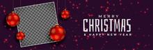 Merry Christmas Red Balls Banner Design