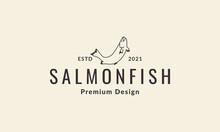 Lines Hipster Fish Salmon Logo Vector Icon Illustration Design