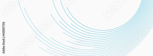 Foto Blue white minimal round lines abstract futuristic tech background