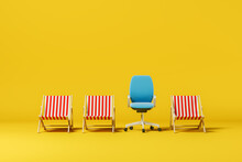 Striped Sun Loungers With One Office Chair On A Yellow Background. Summer Vacation Concept. 3d Rendering