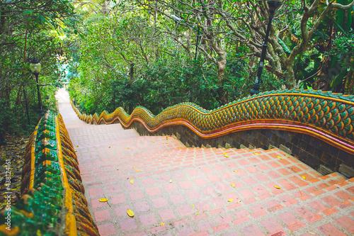 The long Naga stairs at Wat Phra That Doi Suthep in Chiang Mai, Thailand Fototapet