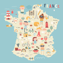 France Map Kids Nursery Poster Print. French Elements, People, Symbols. Fun Tutorial. Vector Illustration.