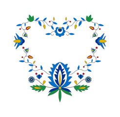 Haft kaszubski w kształcie serca, tradycyjny polski wzór