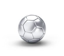 Silver Soccer Ball Isolated On White Background. 3D Illustration.