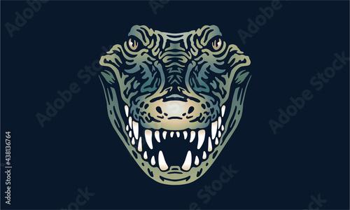 Canvas crocodile on black background