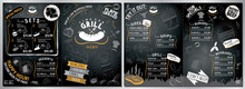Grill, Barbecue Menu Card - A3 To A4 Size (burgers, Grill, Sides, Soups, Drinks, Sets)