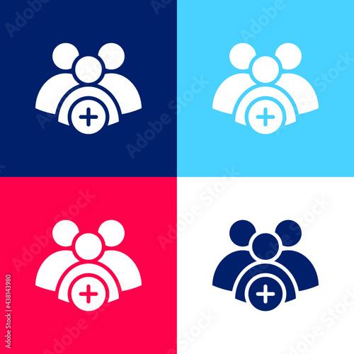 Fotografia, Obraz Add Group blue and red four color minimal icon set