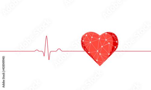 Fotografie, Obraz Healthy human heart beats 3d medicine model low poly