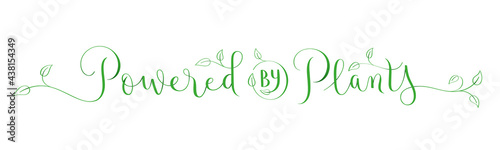 Foto POWERED BY PLANTS green vector brush calligraphy banner with leaves on white bac