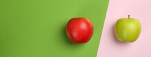 Tasty Ripe Apples On Two Tone Background