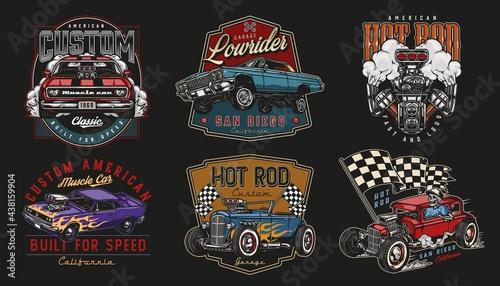 Custom cars vintage colorful prints