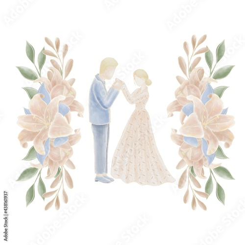 Canvas Wedding figurines of the bride and groom in pastel colors, decorated with a comp