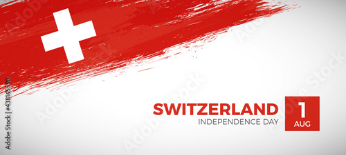 Fotografiet Happy independence day of Switzerland with brush painted grunge flag background