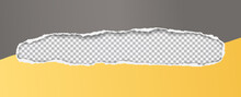 Black Oblong Grey And Yellow Hole Composition In Paper With Torn Edges And Soft Shadow Is On Squared Background. Vector Illustration