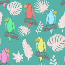 Seamless Pattern With Parrots Line Art, Vector. Simple Continuous Pattern With Exotic Tropical Birds. Colored Parrots On The Background Of Exotic Plants.