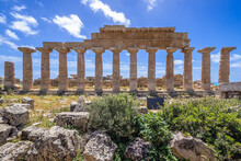 Temple Of Apollo On The Acropolis Of Selinunte Ancient City On Sicily Island In Italy