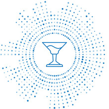 Blue Line Cocktail Icon Isolated On White Background. Abstract Circle Random Dots. Vector