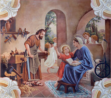 SEBECHLEBY, SLOVAKIA - AUGUS 8, 2013:Holy Family. Fresco From Year 1963 By Jozef Antal In St. Michael Parish Church