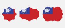 Myanmar Burma Flag. Flat Icon Symbol Vector Illustration