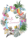Series of Floral backgrounds with tropical summer and spring flowers, palm leaves, animals, birds. A leopard and a sloth decorated with flowers. Hand drawn vector illustration.