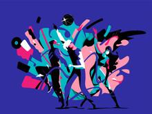 Giovani Ragazzi Scatenati Che Ballano Al Ritmo Di Musica In Discoteca