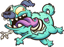 Green Zombie Pug Dog Running With Tongue Out. Vector Clip Art Illustration With Simple Gradients. All In A Single Layer.