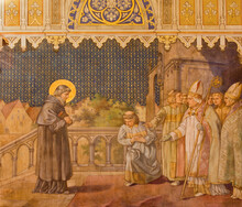 TRNAVA, SLOVAKIA - OCTOBER 14, 2014: The Fresco Of The Scenes From St. Nicholas Live By Leopold Bruckner (1905 - 1906) In St. Nicholas Church.