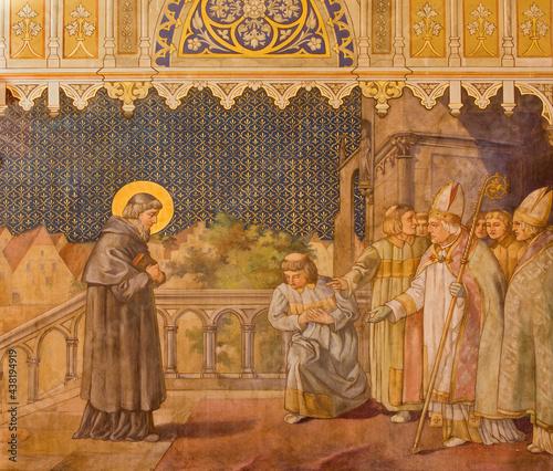 Canvas TRNAVA, SLOVAKIA - OCTOBER 14, 2014: The fresco of the scenes from st