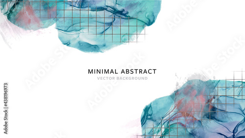 Photo Abstract line art background with alcohol ink texture, modern naturalistic vecto