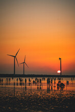 Wind Turbines At Sunset, Tai Chung, Taiwan, Gaomei Wetlands