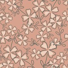 Nature Seamless Pattern With Outline Four-leaf Clover Silhouettes. Pink Pale Background.