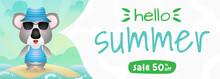 Summer Sale Banner With A Cute Koala Using Summer Costume