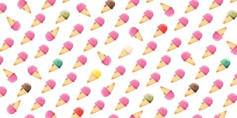 Różnokolorowe lody w wafelku. Roztapiający się słodki deser. Lód w rożku, jedna kulka - wzór tła lub tapety. Dla kawiarni, restauracji, menu lub wzór papieru do pakowania.