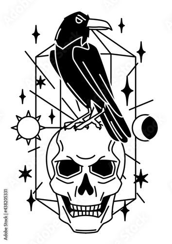 Fototapeta premium Magic illustration with raven and skull. Mystic, alchemy, spirituality and tattoo art.