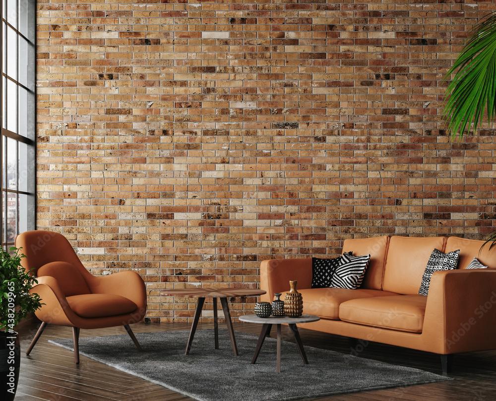 Leinwandbild Motiv - artjafara : Living room loft in industrial style ,3d render
