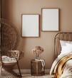 Leinwandbild Motiv Home interior with ethnic boho decoration, bedroom in brown warm color, 3d render