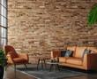 Leinwandbild Motiv Living room loft in industrial style ,3d render