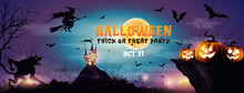 Dark Halloween Background With Halloween Pumpkin Night On A Rocky Cliff With Moon And Dark Forest. Night,grunge Decoration With Witch Fly, Werewolf And Flying Bats.